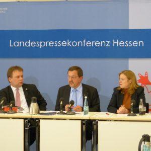 MdL Timon Gremmels, MdL Michael Siebel und Pressesprecherin Katja Apelt