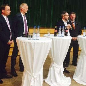 MdL Timon Gremmels, Staatssekretär Rainer Baake, MdB Michael Roth und Bürgermeister von Neuenstein Walter Glänzer