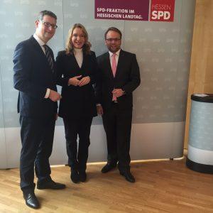 Thorsten Schäfer-Gümbel, Claudia Kemfert und Timon Gremmels heute in Wiesbaden